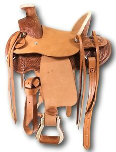 D-A-Brand-Kid-039-s-12-034-Tooled-Leather-Wade-Pony-Saddle-Horse-Tack-Equine