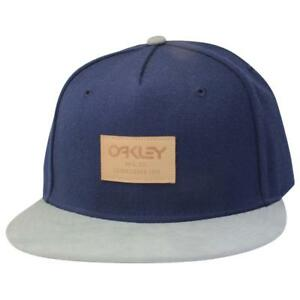 Oakley REPO X Cap Navy Grey Snapback Adjustable Leather Logo Mens ... de067560306