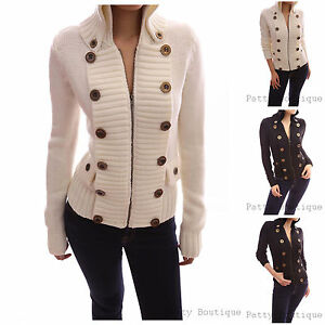 Smart-Buttons-Embellished-Zip-Front-Military-Cardigan-Sweater-Jacket