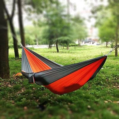 Double Person Travel Portable Parachute Nylon Fabric Hammock Grey and Orange