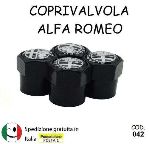 SET 4 TAPPI COPRIVALVOLE COPRI VALVOLE ALFA ROMEO NERE COME IN FOTO