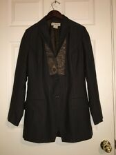��DRIES VAN NOTEN Wool Nylon Brown Boho Embroidered Pinstripe Blazer Jacket 38
