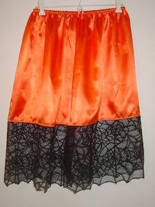 "Halloween Orange Satin Half Slip Spider Web Trim 23.5""-45"" Waist Sissy-xxl 1x 2x Pure White And Translucent Women's Clothing Clothing, Shoes & Accessories"