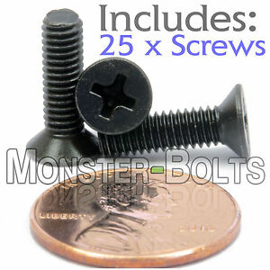 M4 x 14mm - Qty 25 - DIN 965 Phillips FLAT HEAD Machine Screw Black Ox - Type H