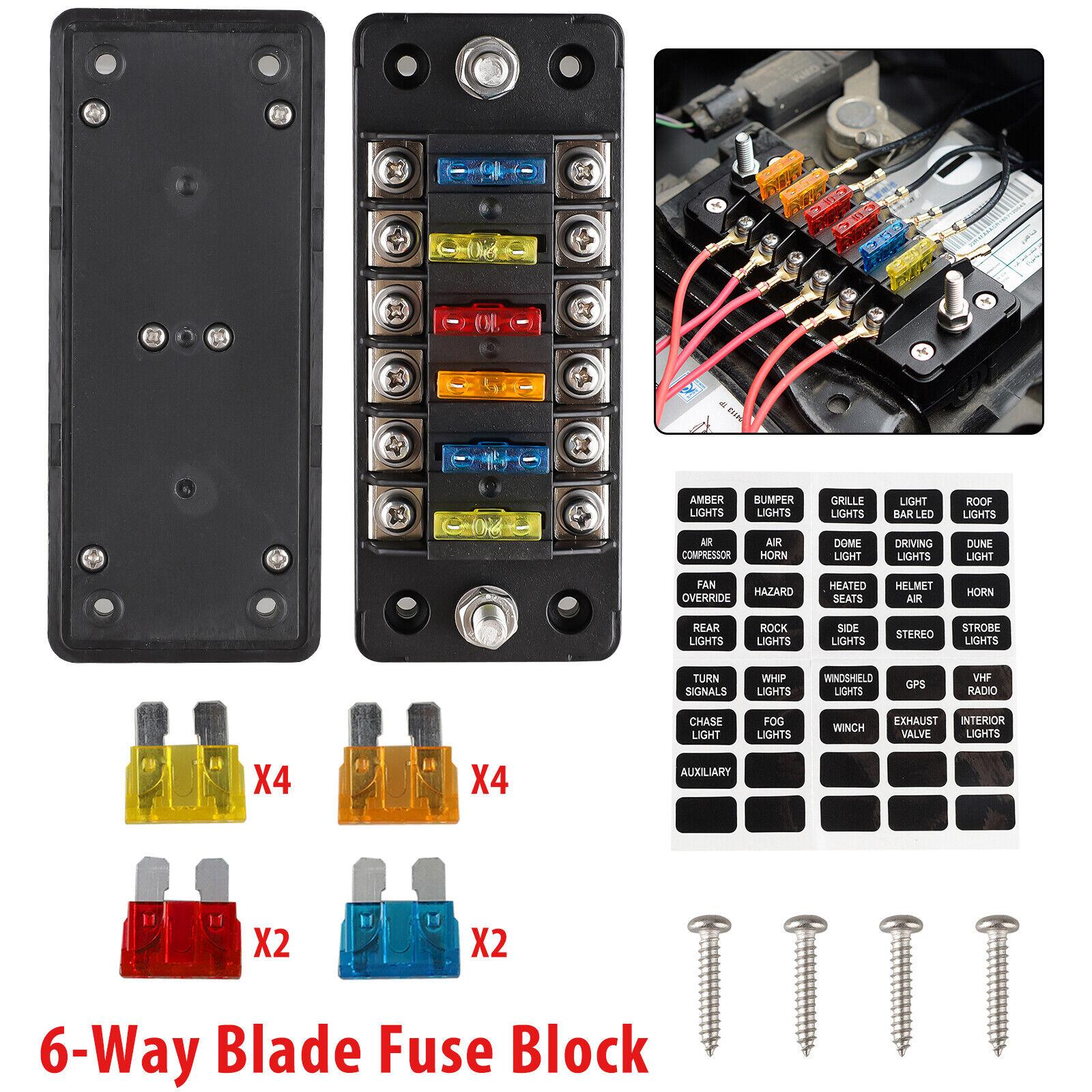 32v 100a 6 Circuit Way LED Blade Fuse Block Holder Indicator W/cover  Sticker for sale online | eBayeBay