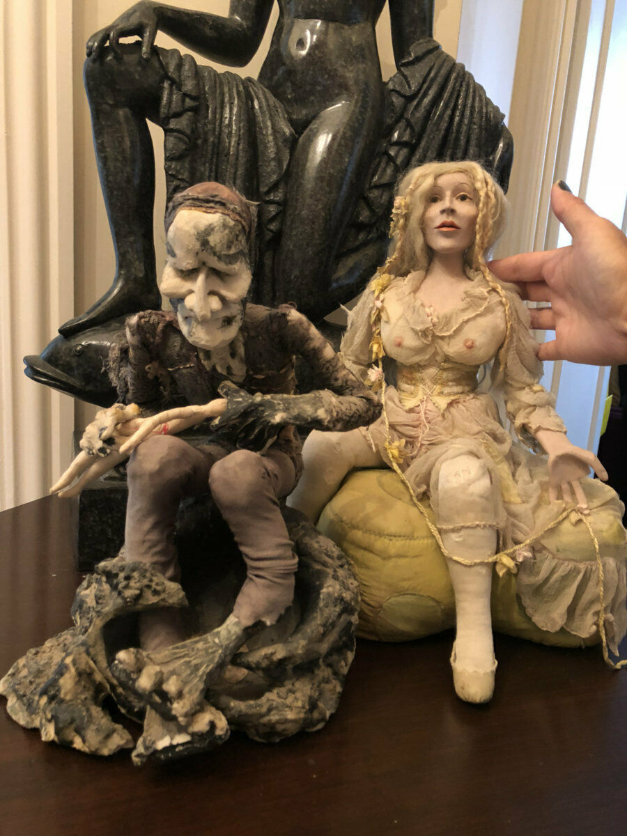 Amazing vintage anni 1970 OOAK Hades & Persephone ART doll figure da JULIA Hills