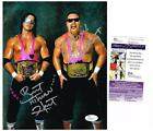 WWE WWF HART FOUNDATION BRET HART JIM ANVIL NEIDHART AUTOGRAPHED JSA 8X10 PHOTO