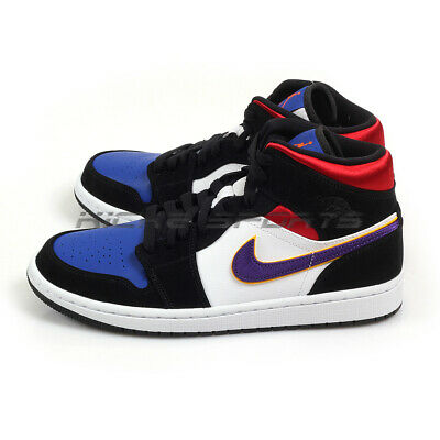 detailed look 5b4cf 9aacc Nike Air Jordan 1 Mid SE What The Black/Field Purple-White Lakers  852542-005 AJ1 | eBay