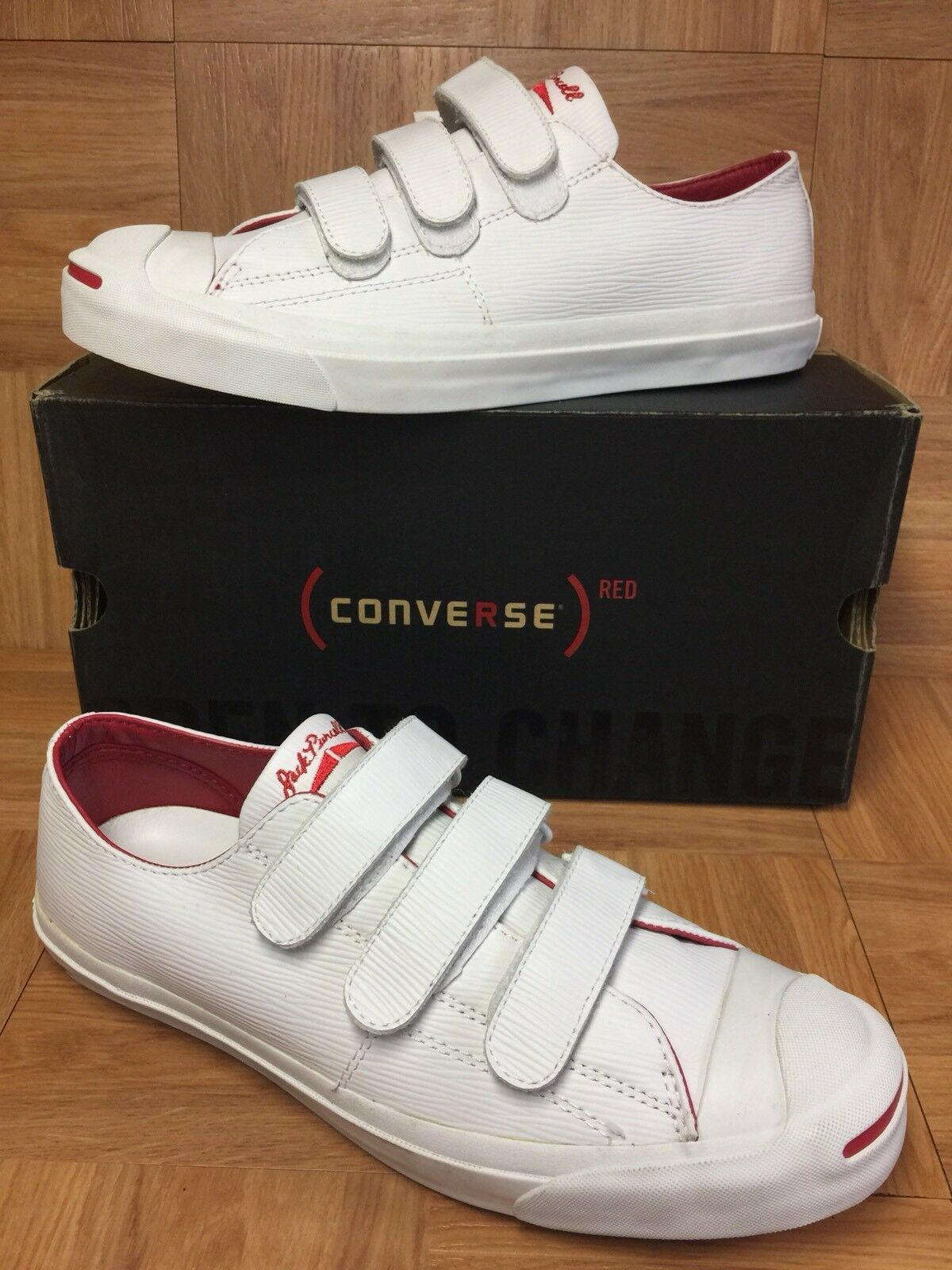 RARE Converse Jack Purcell Red White Leather Ox Sz 10 3V Triple Prison Issue