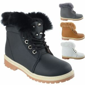Details about GIRLS KIDS FLAT WINTER WARM LACE UP CHILDRENS FASHION COMBAT  ANKLE BOOTS SIZE