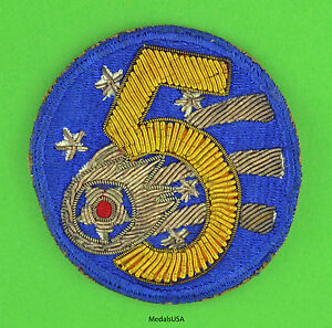 US-Army-5th-Air-Force-Theater-Made-Bullion-Patch-Original-WW2-WWII