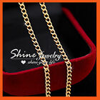9K YELLOW GOLD GF 2MM CURB RING LINK CHAIN SOLID LADIES GIRLS GIFT NECKLACE 45CM