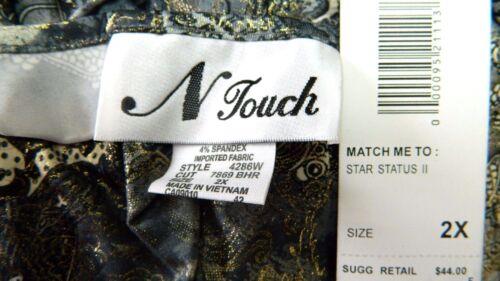 N Touch Women 2x Elegant Festive Gray Gold Paisley Tunic Top Blouse Shirt
