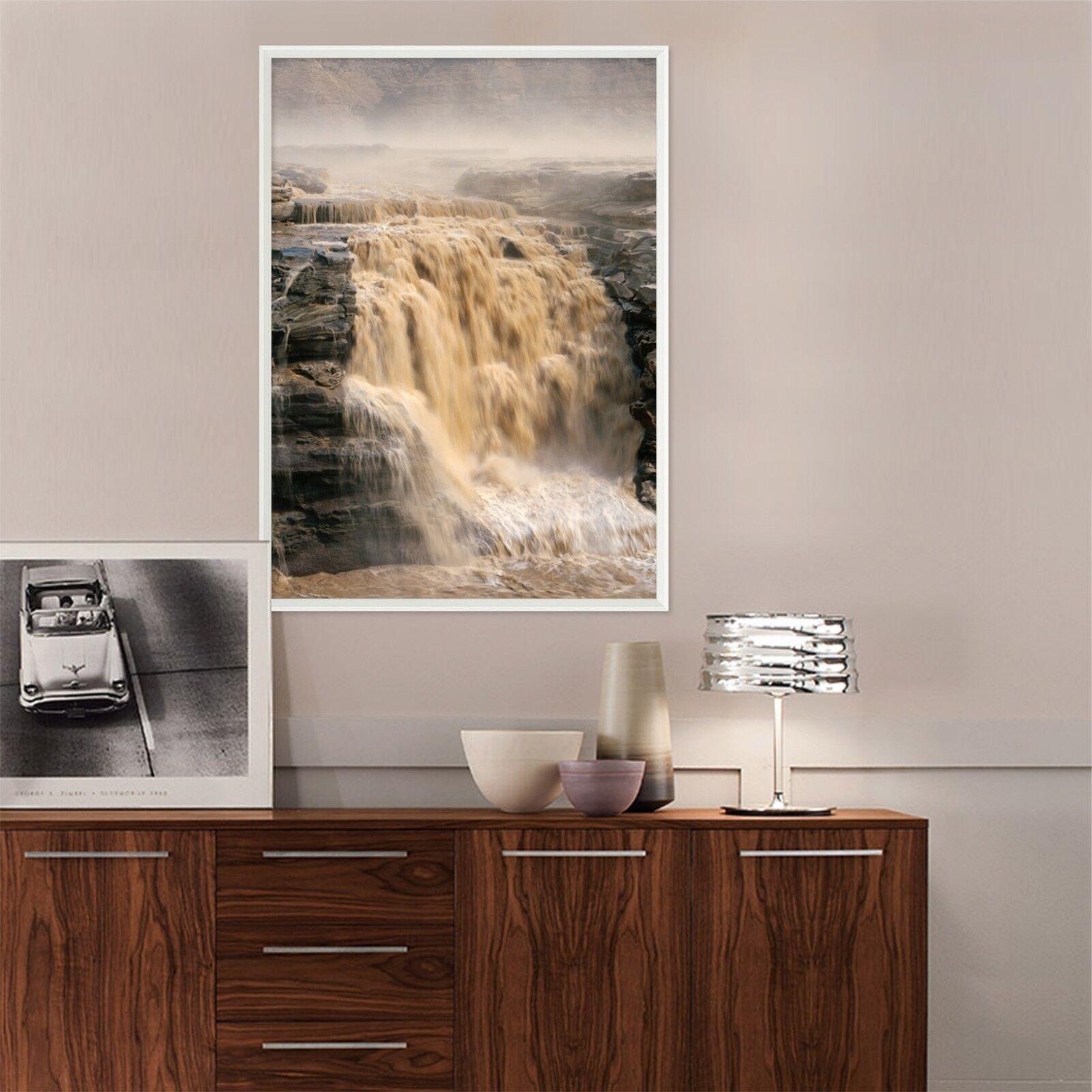 3D Gelber Fluss Wasserfall 51 Gerahmt Poster Daheim Dekor Drucken Malerei Kunst