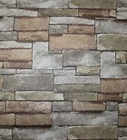 Vintage Faux Brick Wallpaper Rolls Grey/brown/black Stone Murals Home Wallpaper