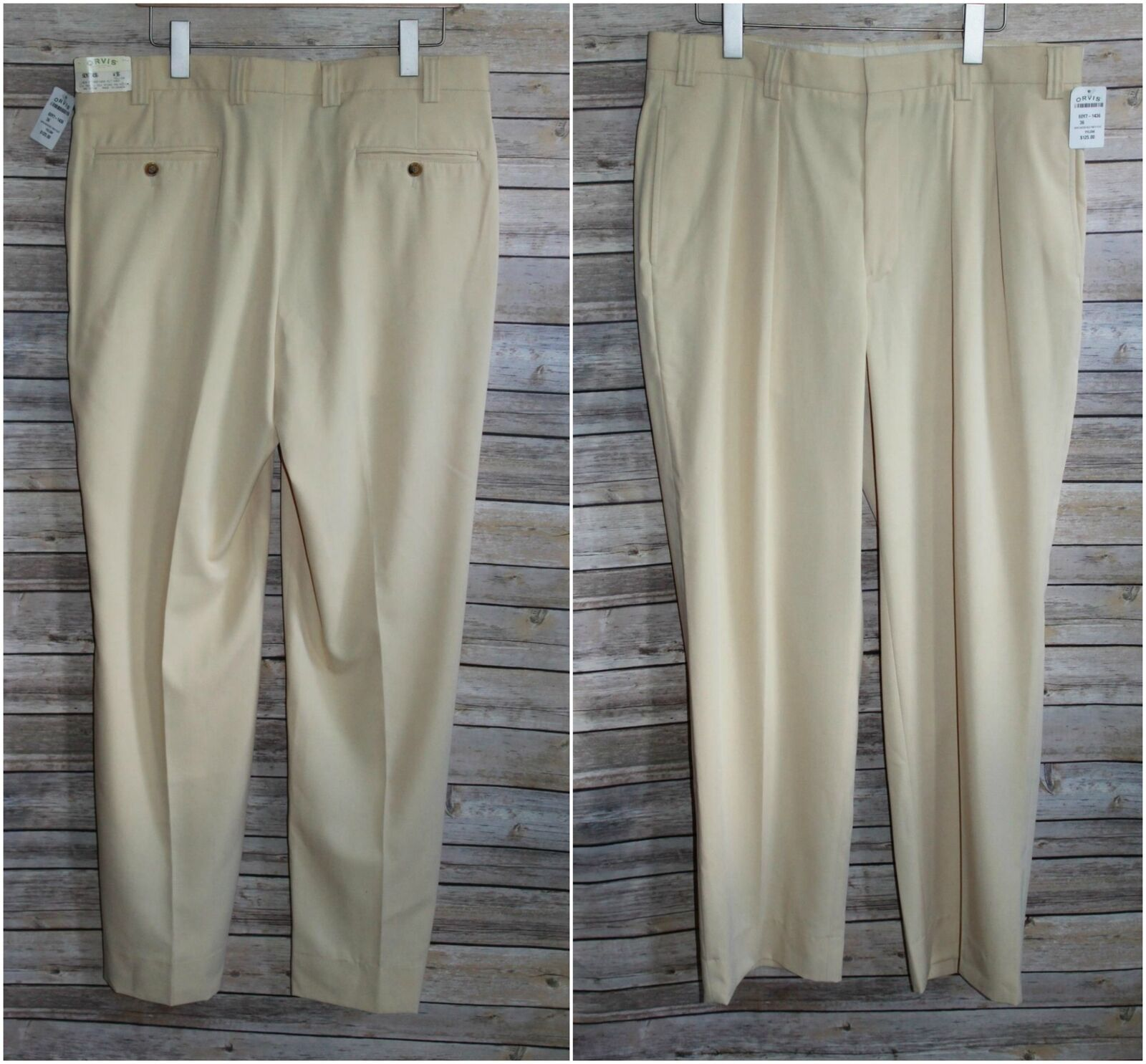 NWT  Orvis Super Microfiber Pleated Front Yellow Men's Size 36 Pleat HW3808