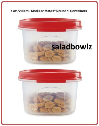 TUPPERWARE New Set MM MODULAR MATES Round 1 Pair of 2 Snack Cups Store Keep RED