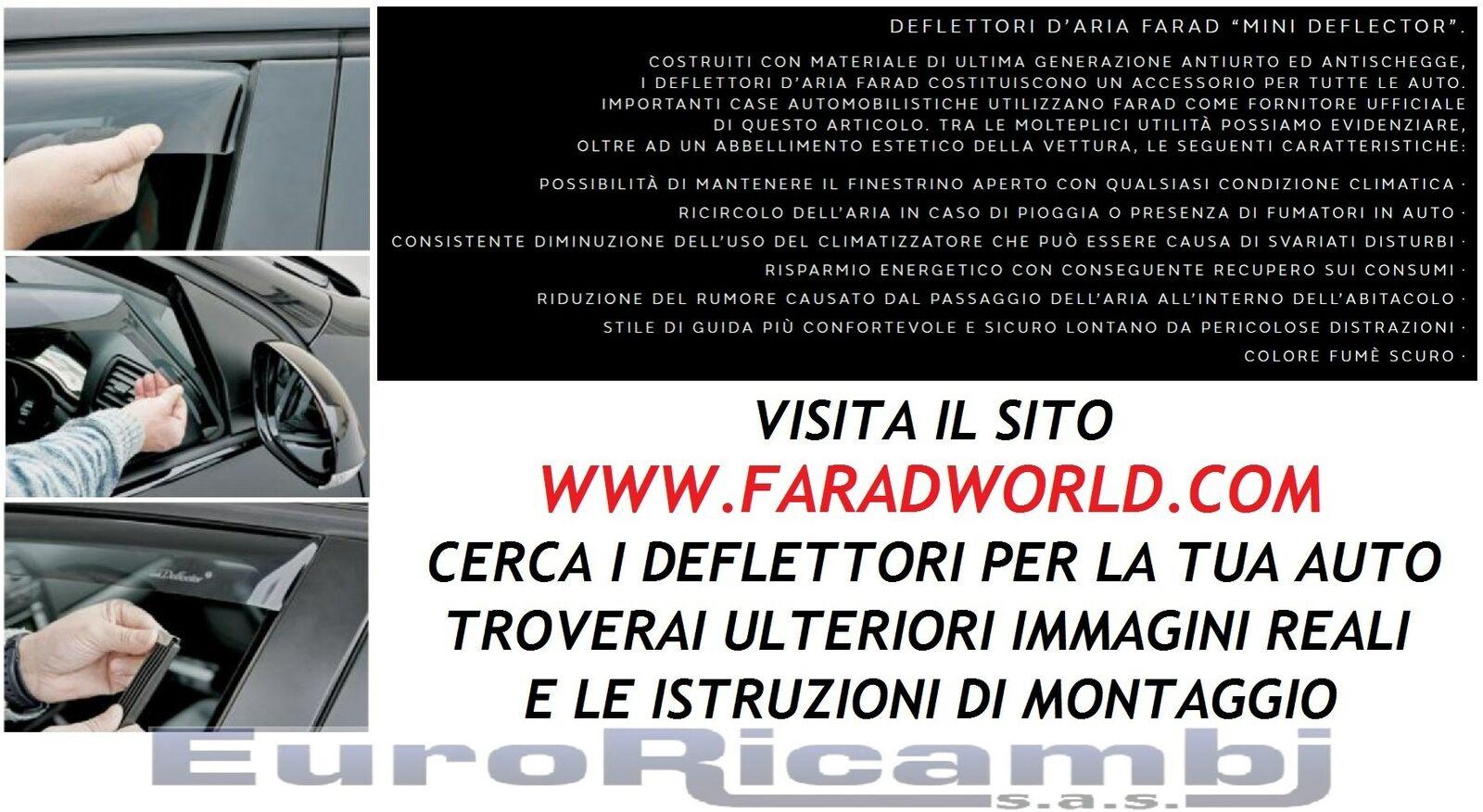 4 p dal 2012 Kit 4 Deflettori Aria Antivento Farad Anteriori//Posteriori Ford Ranger