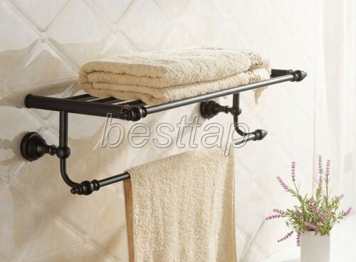 Black Oil Brass Wall Mounted Bathroom Towel Rail Holder Rack Bar Shelf sba821
