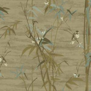 Wallpaper-Designer-Bamboo-with-Cute-Birds-Beige-Tan-Aqua-Blue-Gold