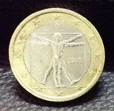 "1 EURO Coin 2002 Italy ""Vitruvian Man"" Leonardo da Vinci"