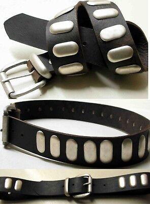 1a Oggetti Da Lavoro In Pelle Cintura In Pelle Di Alta Qualità Nuovo Bufali Pelle Borchiato Cintura 4cm #-