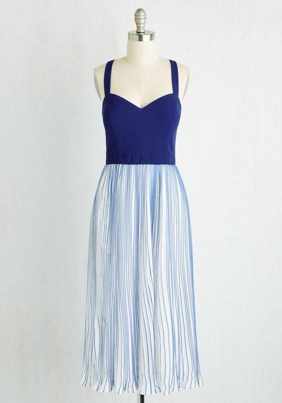 Modcloth Brand Plus Size 2X 3X bluee & White Retro Vintage Pleated Midi Dress