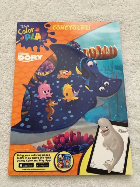 NEW Disney Pixar Finding Dory Color And Play Coloring Book Come To Life In 3D