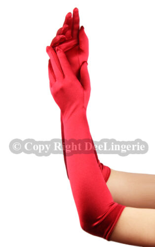 Elbow Length Satin Gloves Red