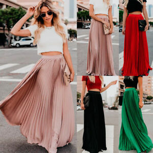 buy online b82ae 8cc31 Details zu Damen Lang Faltenrock Kleid Elastische Taille Plissee Maxikleid  Strandröcke Rock