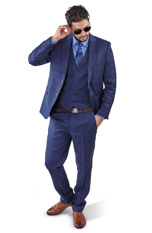 Slim Fit 2 Button Vest Optional Peak lapel Windowpane Plaid Suit Azar Blau 1698