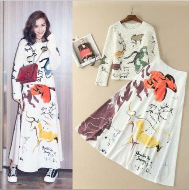 2pcs damen Sets Sweater+Skirt Suits Knitted Hollow Tops Ployester Skirts Maxi U