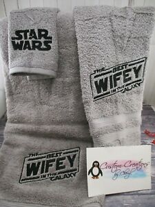 Star Wars Best Wifey in the Galaxy Personalized 3 Piece Bath Towel Set