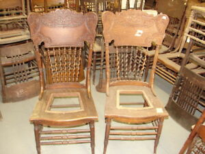 Image is loading 61-2-Antique-Pressed-Back-Chairs-w-Rope- & 61 - 2 Antique Pressed Back Chairs w/Rope Twist Spindles ...