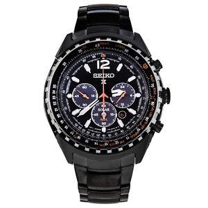 Seiko-SSC263-P1-Black-Sky-Prospex-Solar-Chronograph-Men-039-s-Analog-Pilots-Watch