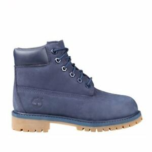 b91338a27b5e4 Kids Timberland 6 Inch Premium Waterproof Boot GS Navy Blue Nubuck Tb03793a  US 7y