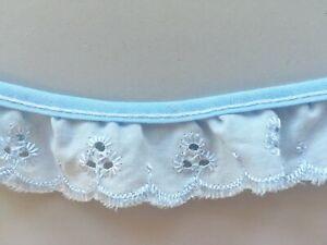 3 royal blue ruffled eyelet fabric trim 7 yards