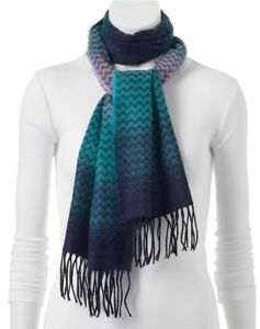 NWT Softer Than Cashmere Ombre Zigzag Oblong Scarf 72