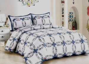Image Is Loading Queen Quilt Bedspread Vintage Wedding Ring Cotton Set
