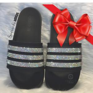 bccd6e2ba69e3 Image is loading Adidas-Slides-BEDAZZLED-Bling-Swarovski-Embellished-Sandals