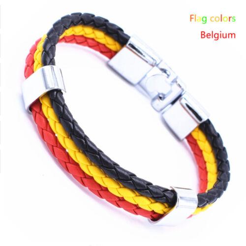 Unisexe Italie France Russie Drapeau National Corde Surfeur Cuir Bracelets Bracelets!!!