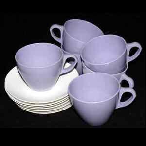 Vintage-Royalon-Corsage-Purple-Melmac-Coffee-Tea-Cup-and-Saucers-Set-66