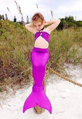 Niña Cola De Sirena Nadar Monoaleta Bikini Traje De Baño Disfraz 3 PIEZAS Set