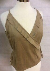 Ladies-Womens-Mocha-Brown-Soft-Suede-Effect-Cami-Vest-Top-Size-12-14-16