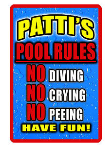PERSONALIZED SWIMMING POOL SIGN YOUR NAME DURABLE ALUMINUM HI COLOR GLOSS P#444