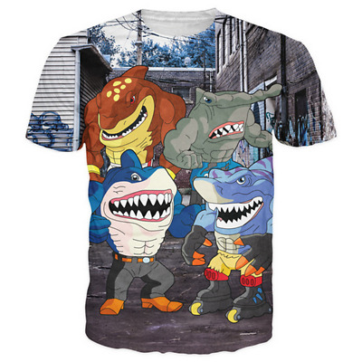 New Fashion 3D Print Street Sharks- Crime Fighting Half Man Half Sharks T-Shirt