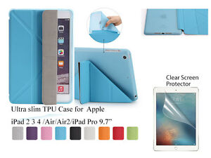 For-iPad-234-Air-Air-2-Pro-9-7-034-Screen-Protector-Slim-Smart-Cover-TPU-Soft-Case