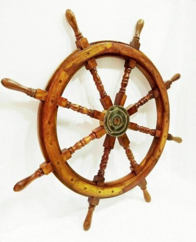 Big Ship Steering Wheel Wooden 36/'/' Inch Antique Brass Nautical Pirate Ship/'s