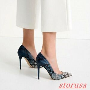 Womens-Stiletto-High-Heels-Party-Shoes-Pointy-Toe-Snake-Pattern-Pump-Shoes-size