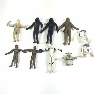 Vintage-1993-Bendable-Star-Wars-Figure-Lot-Of-10-Chewbacca-Yoda-R2D2-READ